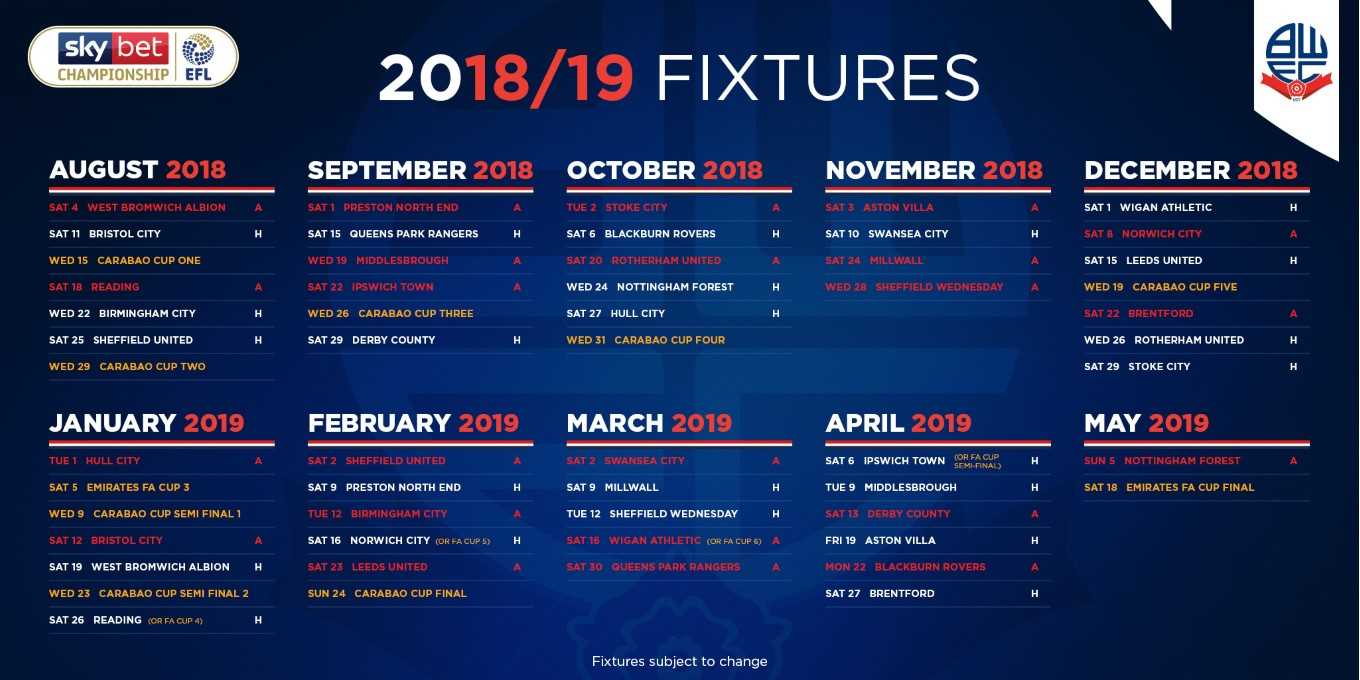 Add Wanderers 2018 19 Fixtures Straight To Your Calendar